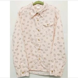 Cat & Jack Long Sleeve Button Up Cats 100% Cotton